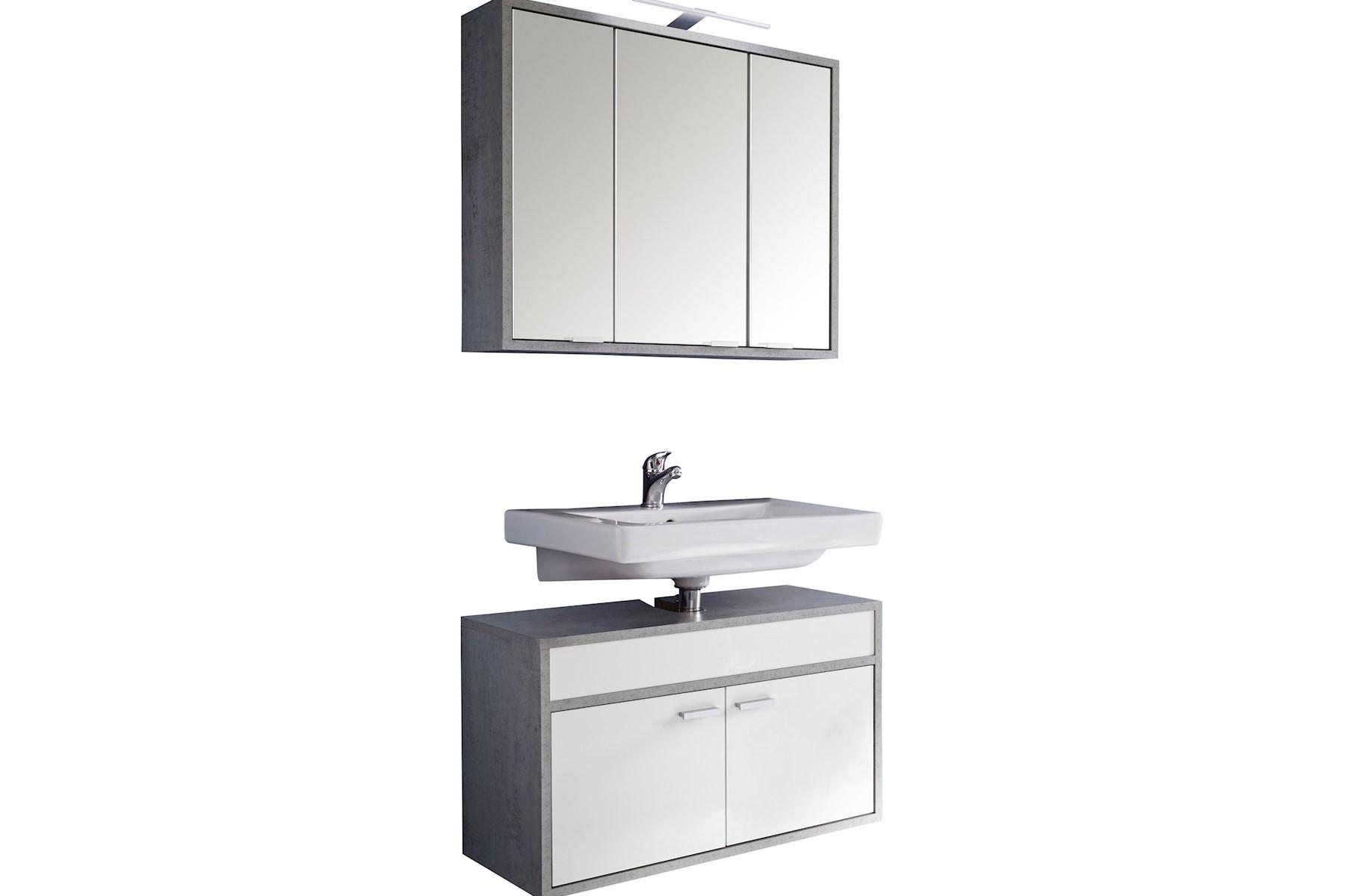 Badezimmer Set Gulia 2-teilig in Weiß-Beton