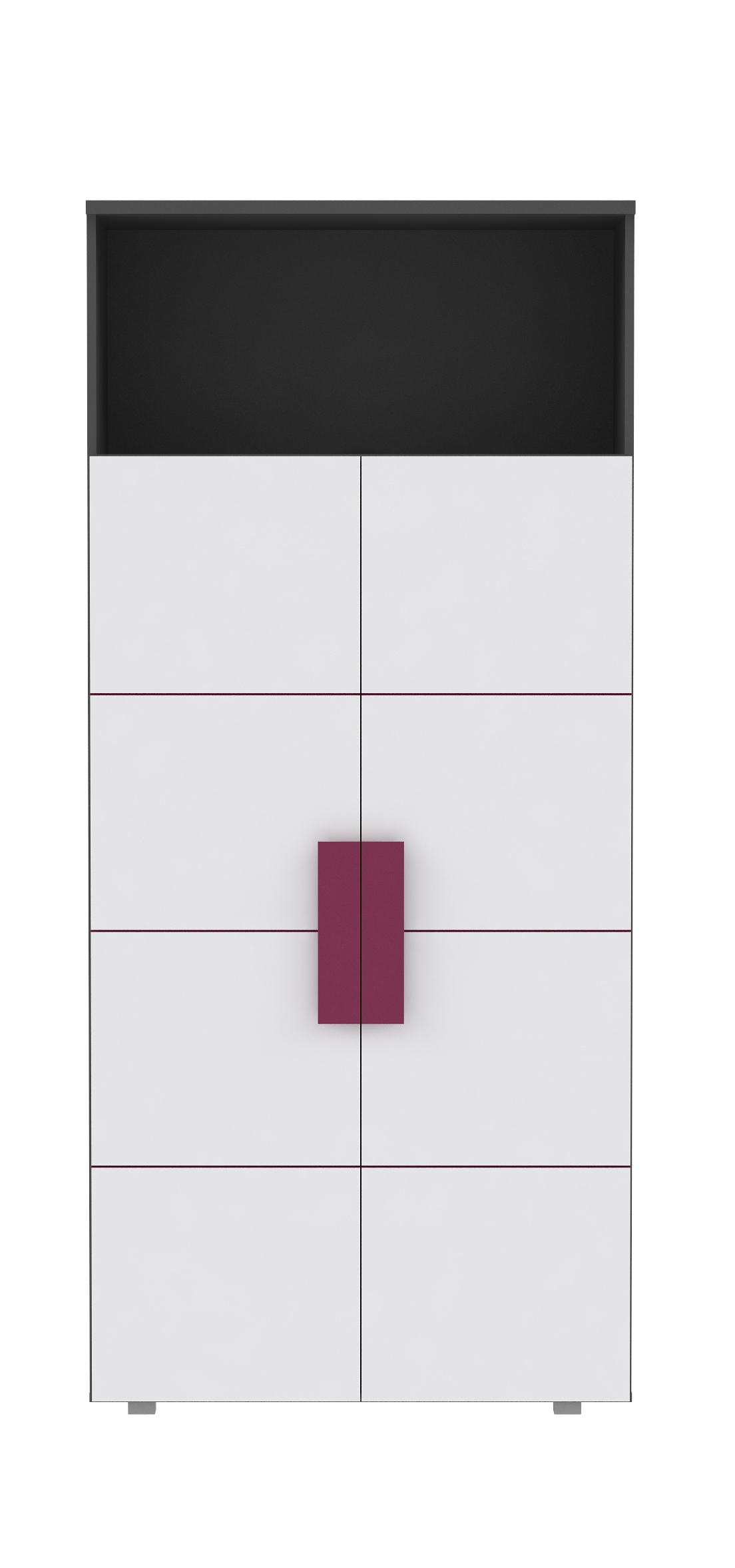 Jugendzimmer Weiß Grau Violett Trinity 8-teilig