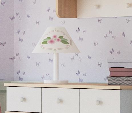 Almila Tischlampe Bianca Baby mit Blumenmotiv
