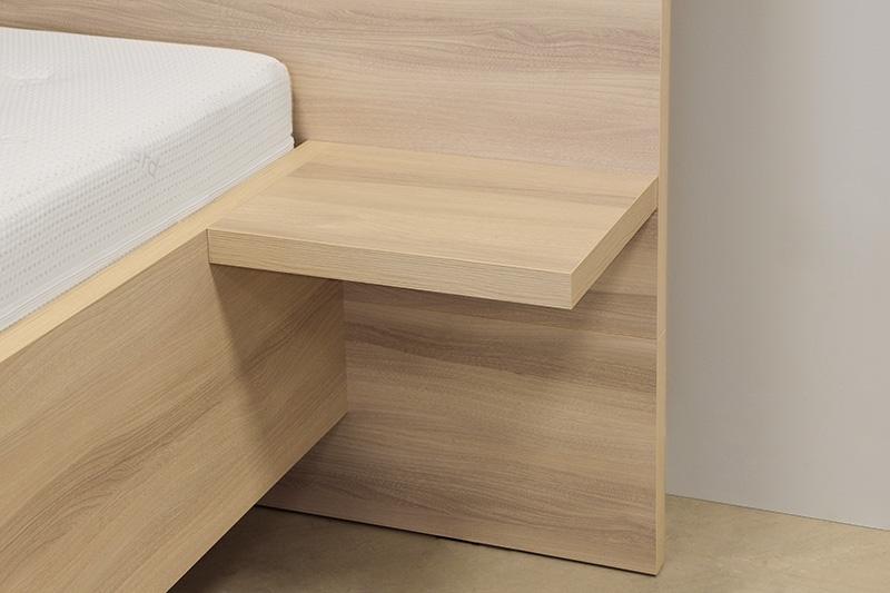 Schwebendes Bett Rielle 140x190 Eiche Weiß Links