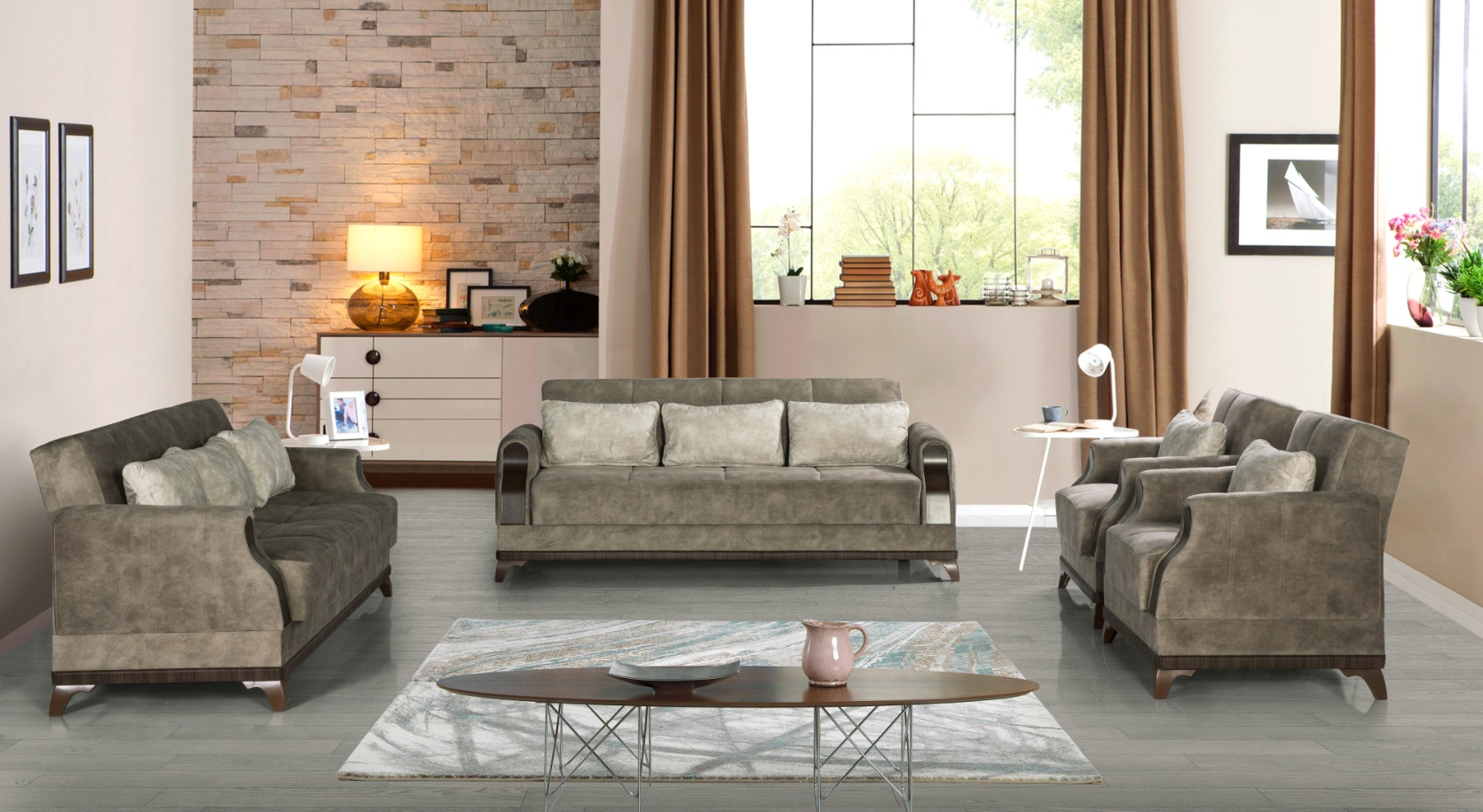 Windy exklusive Sofa Garnitur mit Stauraum Grau Linda