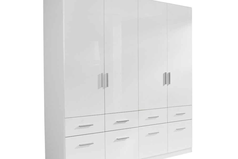 Drehtür-Kombischrank CELLE weiß / alpinweiß 181 x 210 x 54 cm