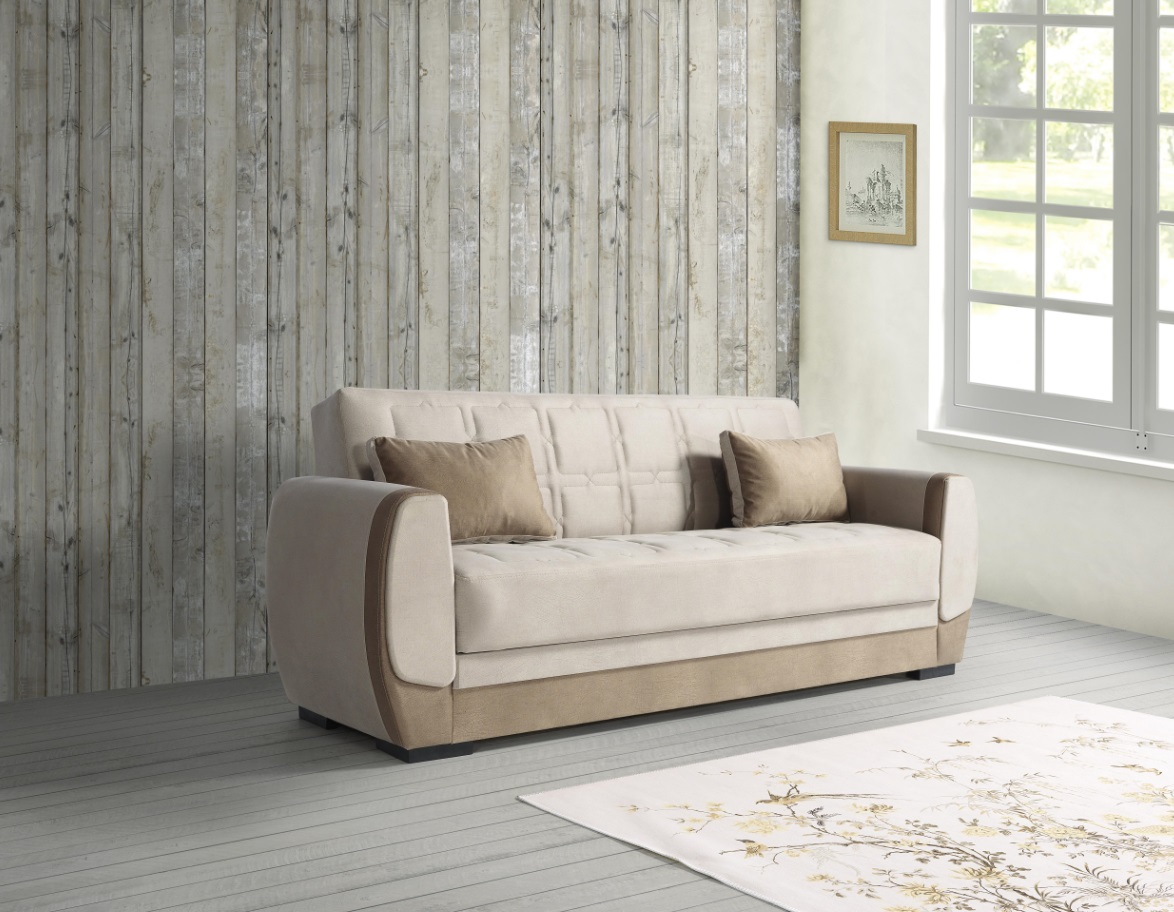 Windy Couch mit Schlaffunktion in Beige Bame 3-Sitzer