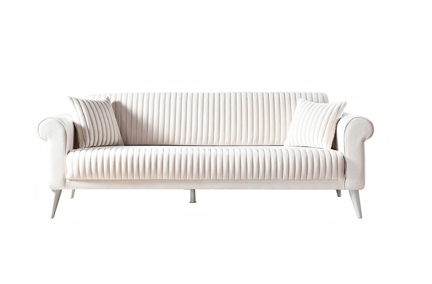 Weltew Sofa mit Schlaffunktion 3-Sitzer Gino Creme