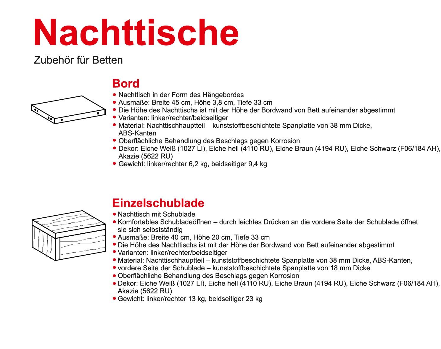 Schwebendes Bett Rielle Eiche hell 80x200 Kopfteil links