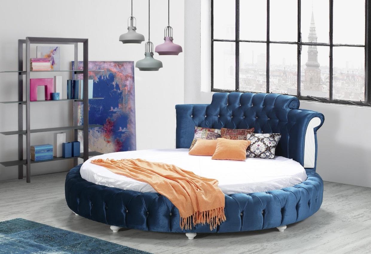 Rundes Bett in Blau inklusive Matratze 23 cm Lale