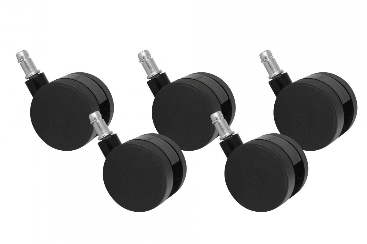 5er Set Rollen für Bürostuhl Bürostuhlrollen Schwarz PIN 11mm / Durchmesser 60 mm (Teppichbodenollen)