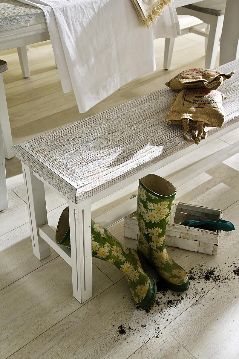 Sitzbank Olio Kiefer Massiv Weiß
