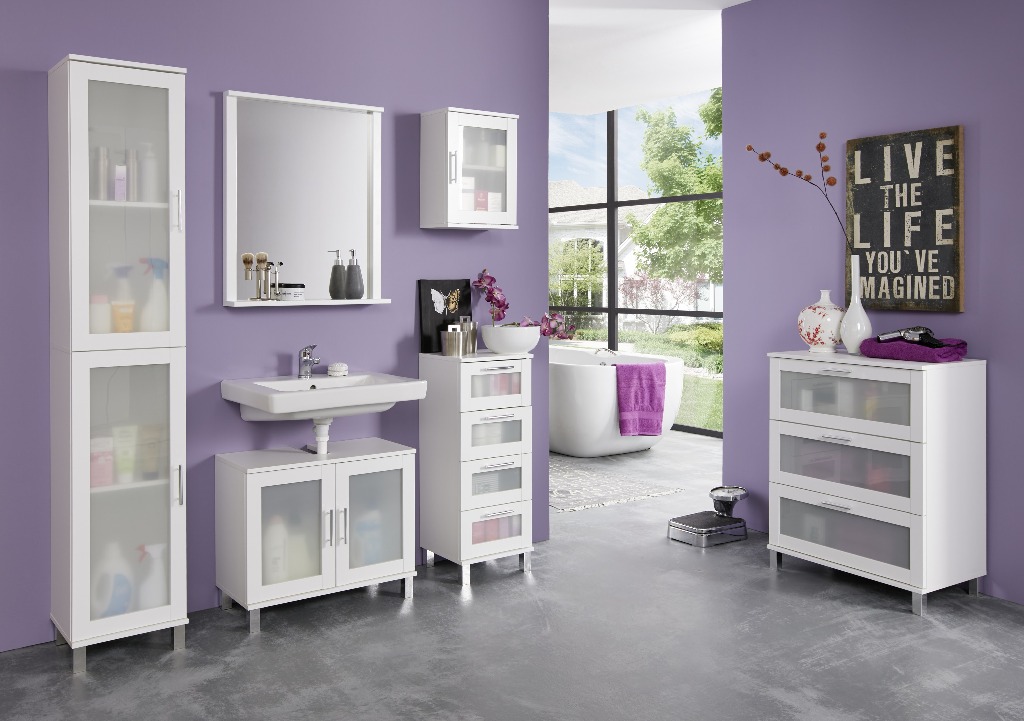 Badezimmer Set Lima 5-teilig in elegantem Weiß