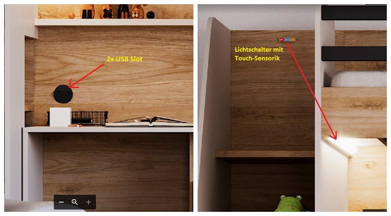 Almila Hochbett New Options mit USB und Schubkasten