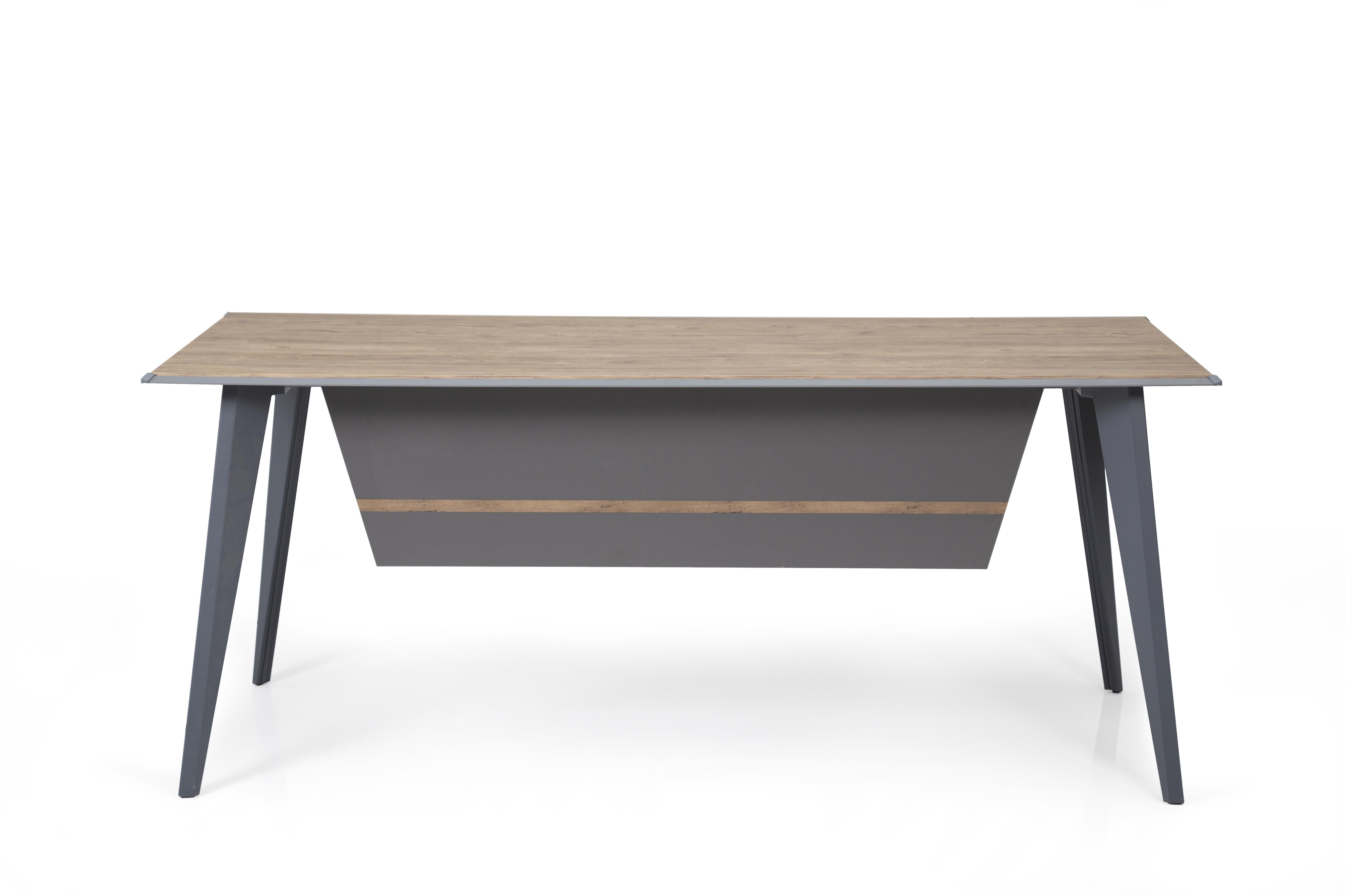 Ovali Schreibtisch 4-beinig Eco Holzoptik 140x80x75 cm