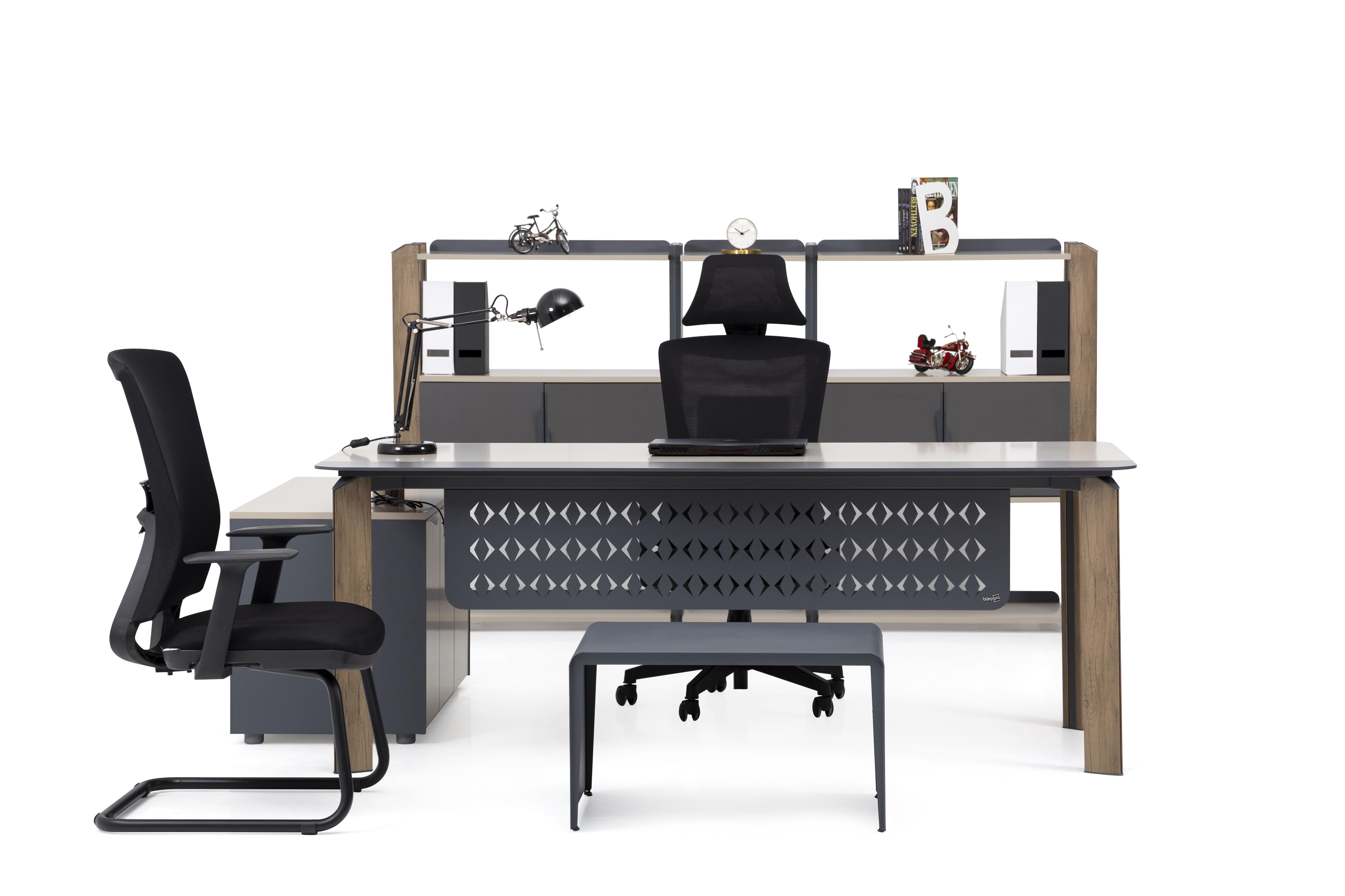 Ovali Büromöbel Set komplett Twist L3 200x90 cm