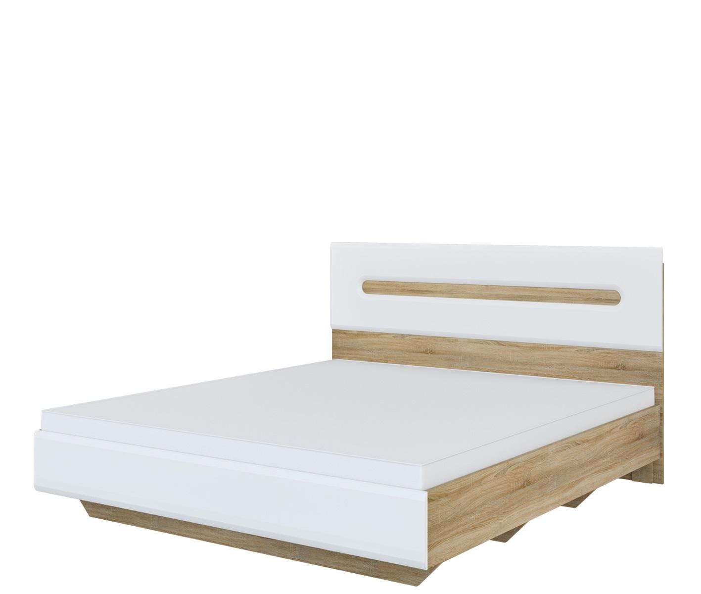 Doppelbett 180x200 in Eiche Weiß Leonardo