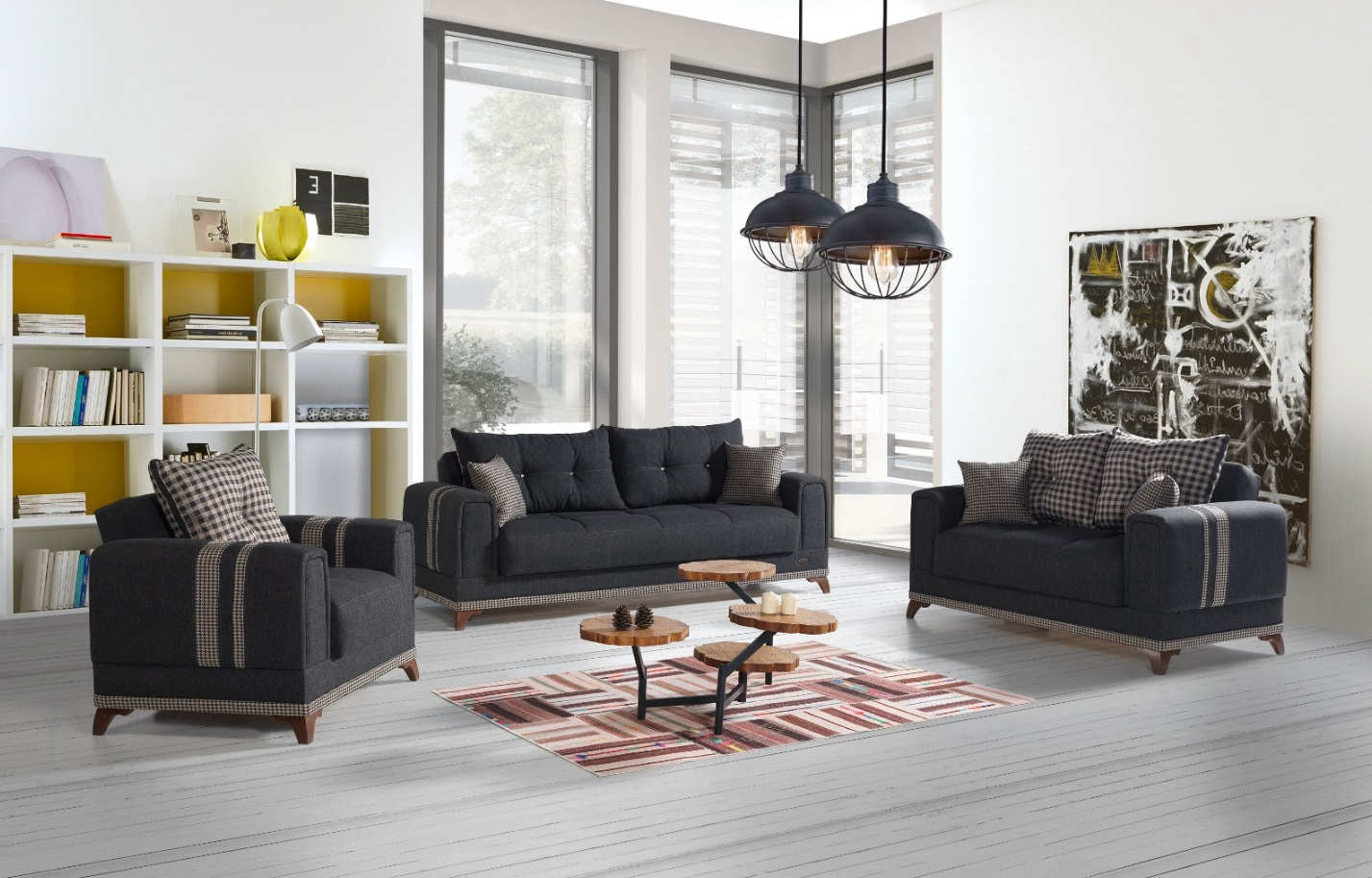 Windy Couch Garnitur mit Stauraum Grau Okyanus