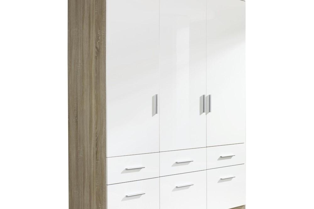 Drehtür-Kombischrank CELLE weiß / Eiche Sonoma 136 x 197 x 54 cm