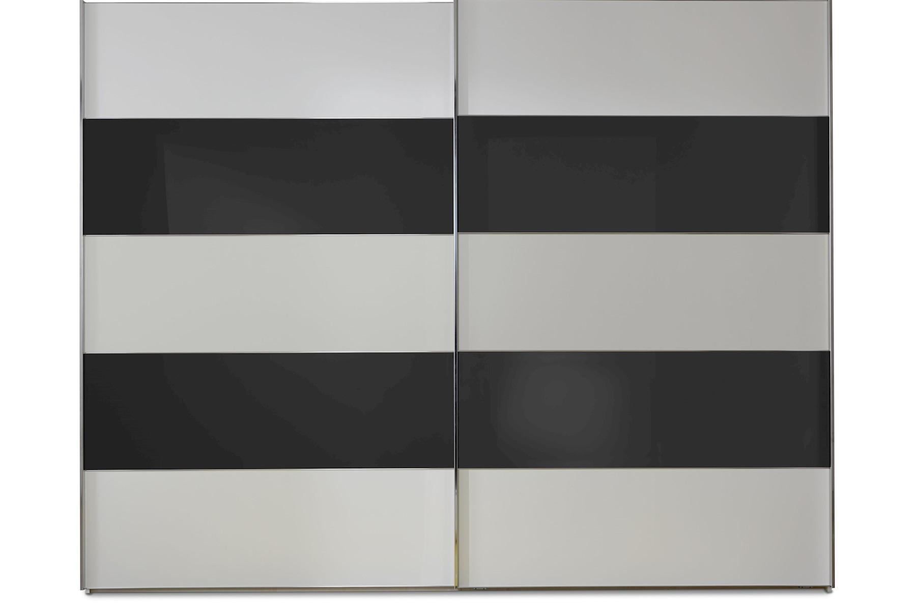 Schwebetürenschrank Genius in Weiß mit Schwarzem Glas 400 cm x 236 cm