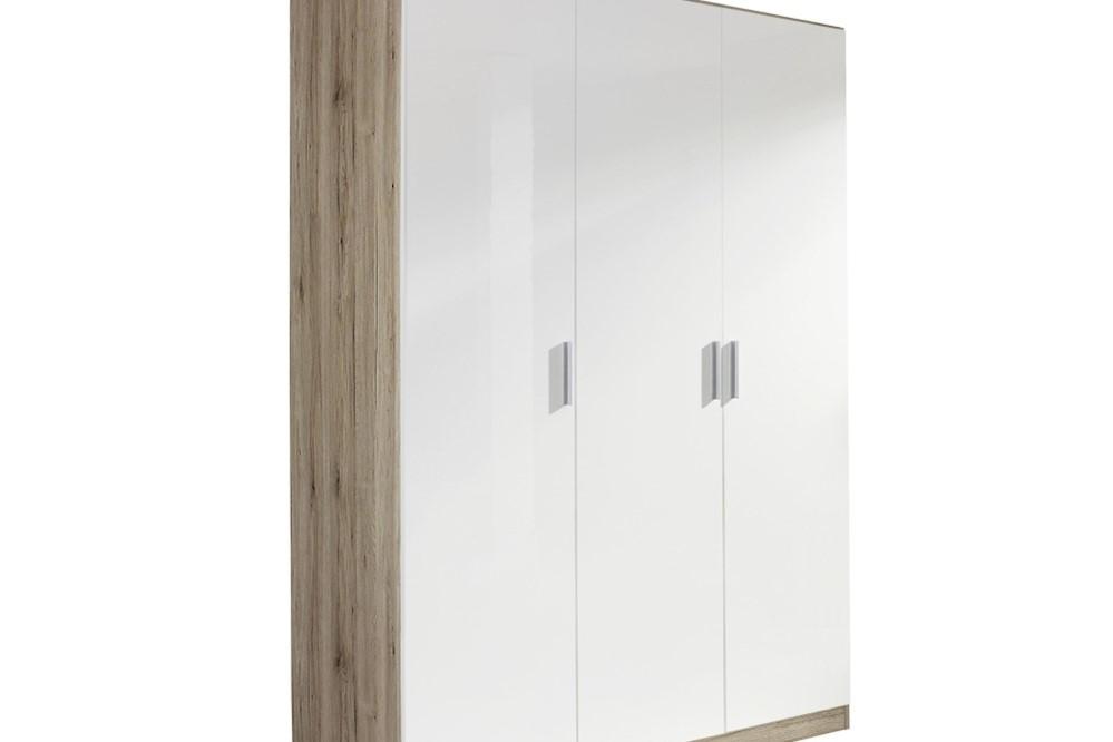 Drehtürenschrank CELLE weiß / Eiche Sanremo 136 x 210 x 54 cm