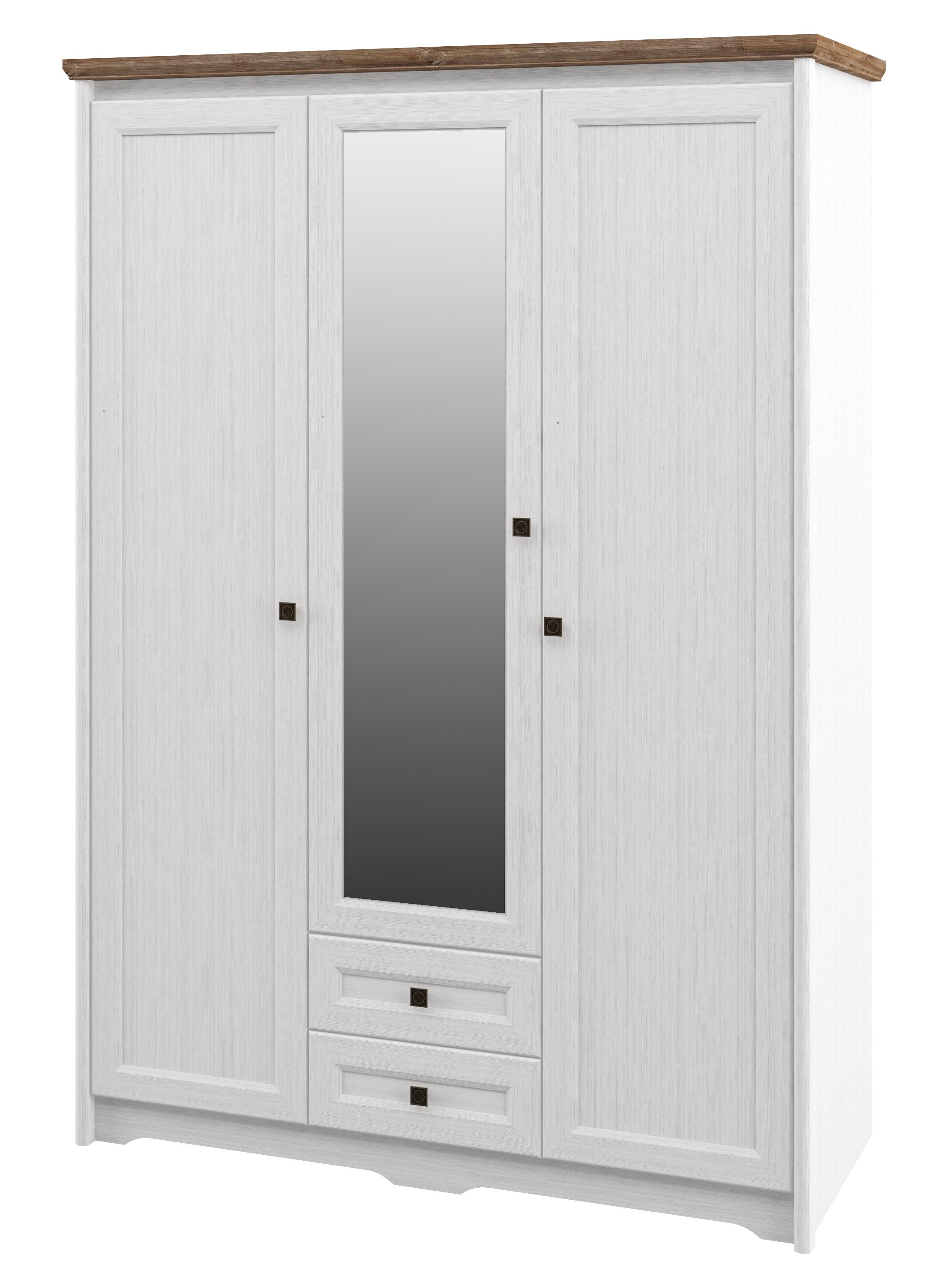 Neman Kleiderschrank 3-türig Tivoli Landhausstil Weiß