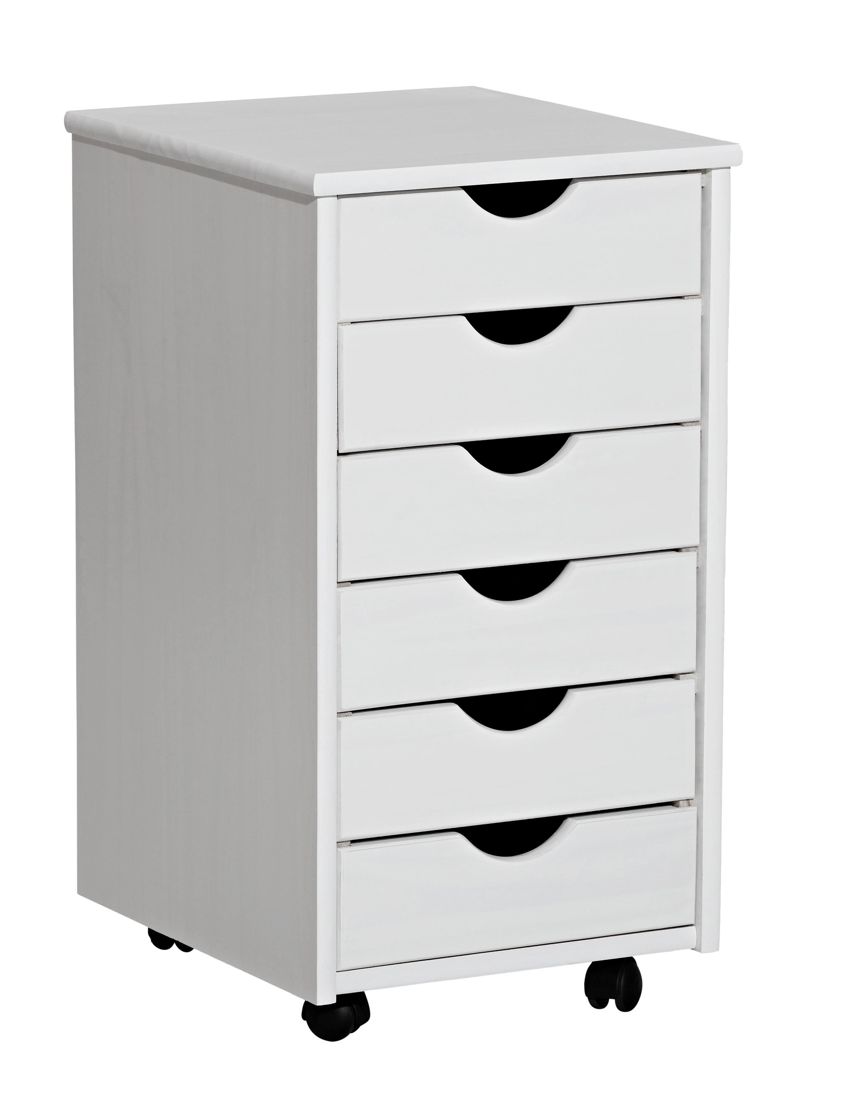Antia Rollcontainer mit 6 Schubkästen Kiefer Weiß