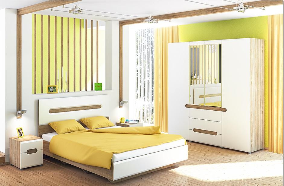 Schlafzimmer Eiche Weiß 140x200 Leonardo 4-teilig