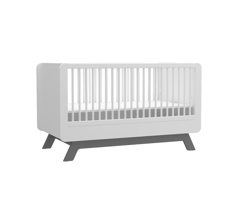 Almila Babybett Baby Cute in Weiß-Grau 70x130 cm