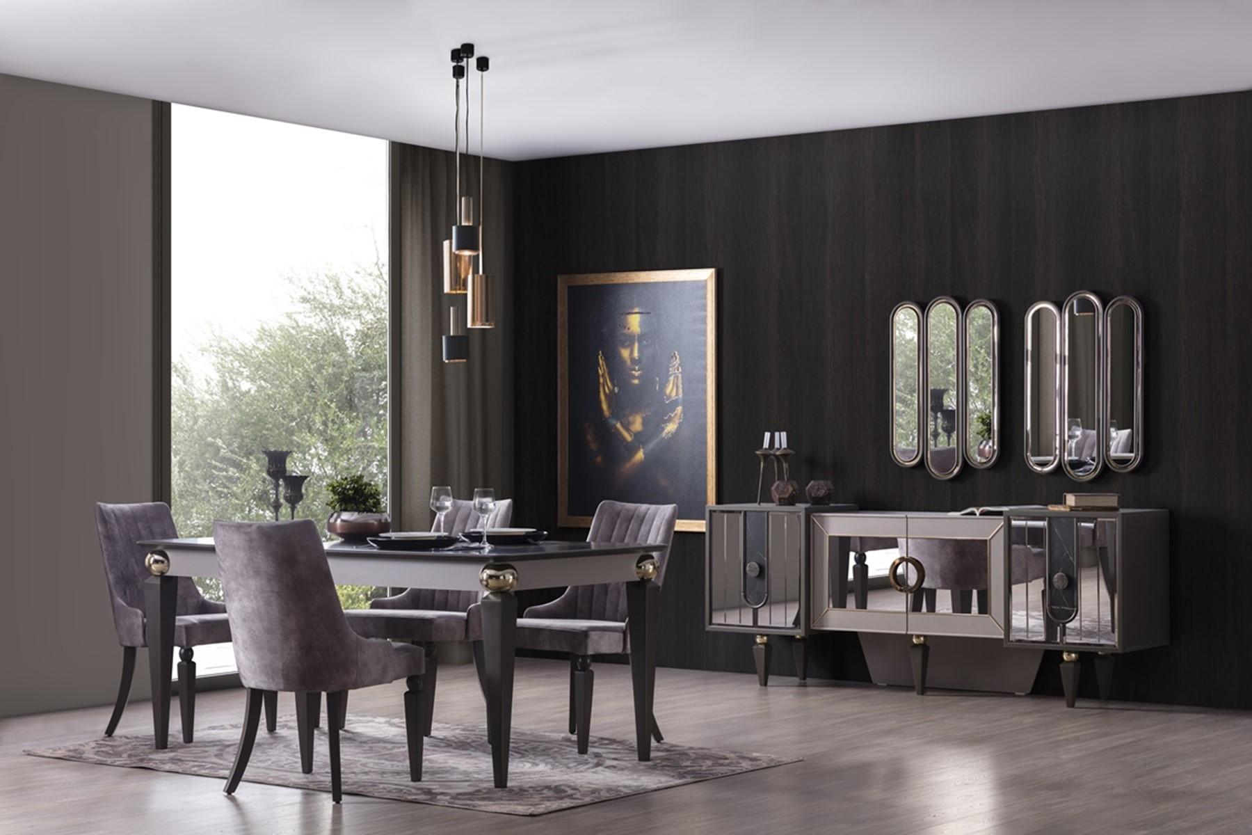 Weltew Esszimmer Set 8-teilig komplett Lizbon Grau