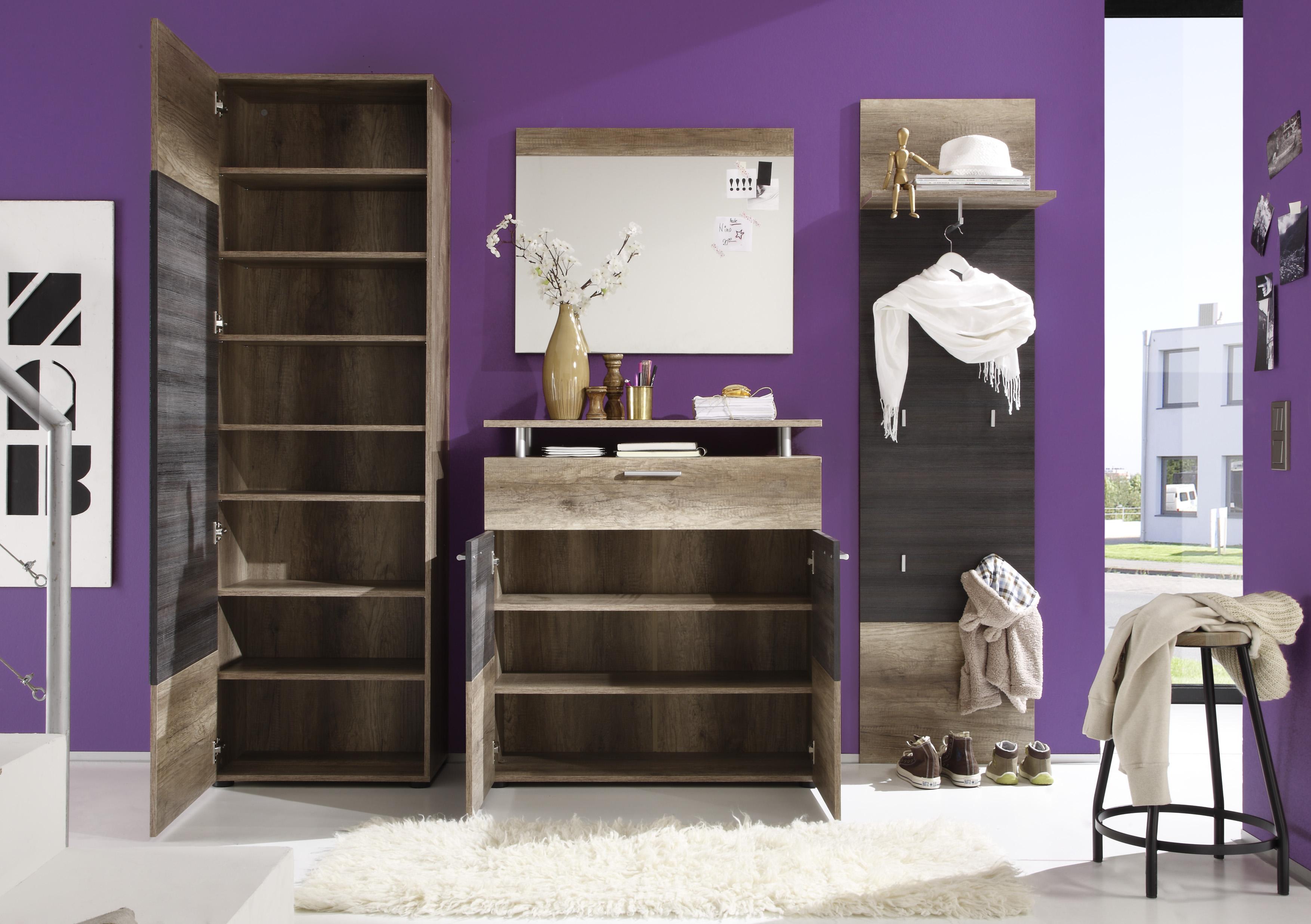 Garderobe komplett Yves 4-teilig in Eichen Optik