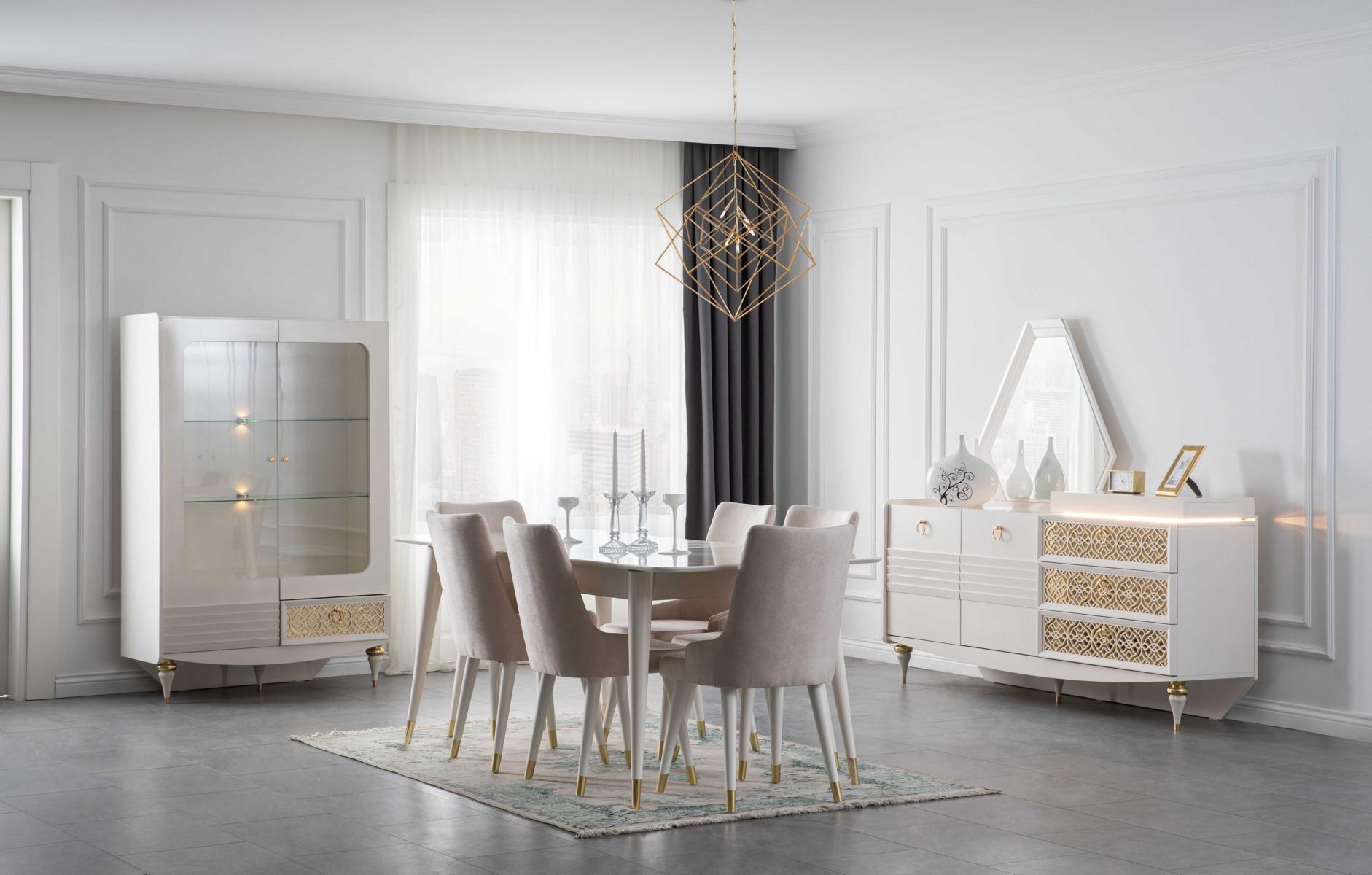 Lidya Esszimmer Set 9-teilig Pena in Weiß Gold