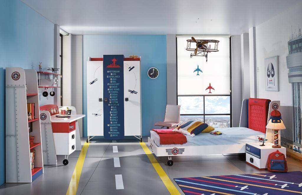 Almila Kinderzimmer komplett Set Flugzeug Pilot 6-teilig