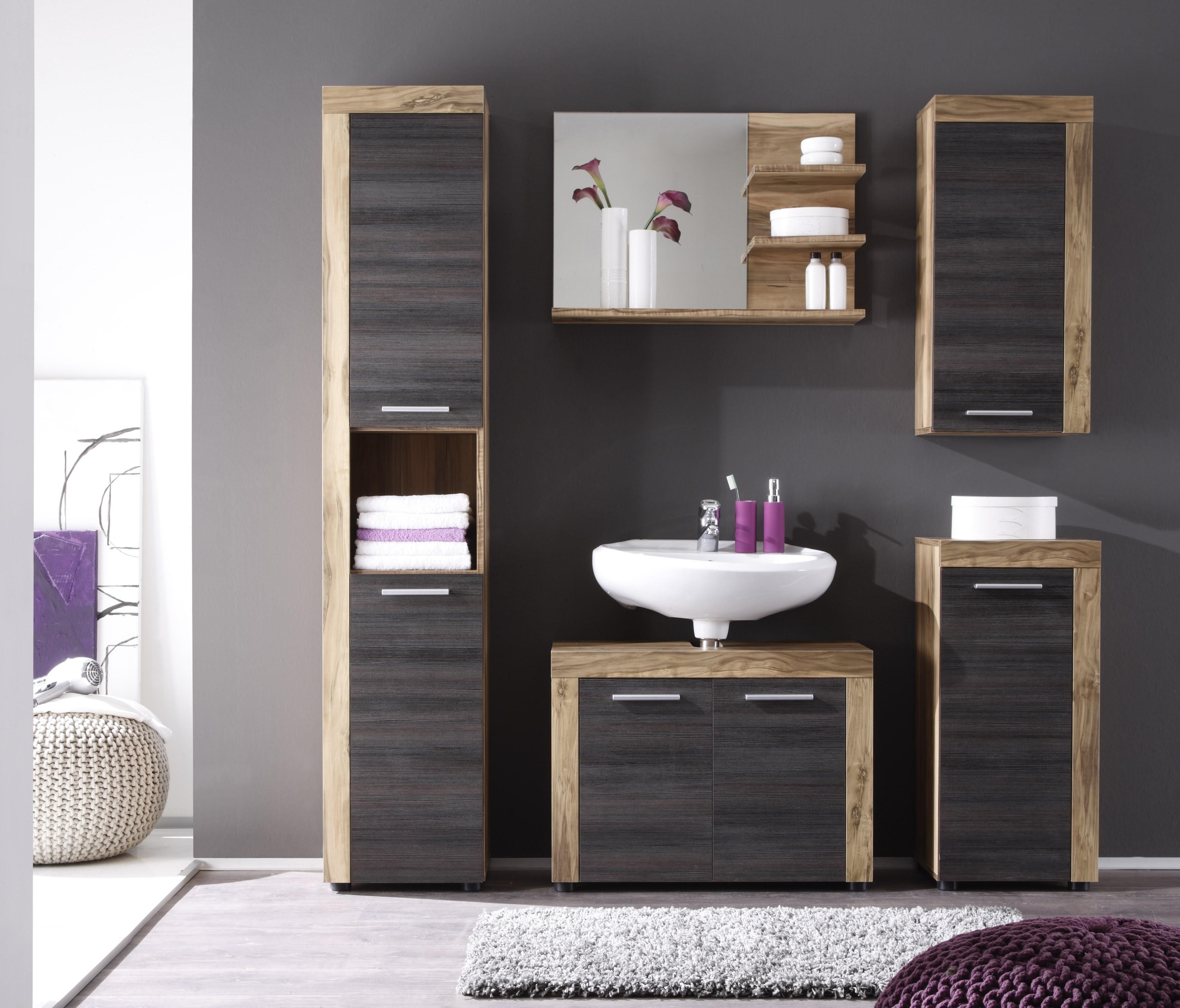 Badezimmer Set Embla 5-teilig in Nussbaum Optik