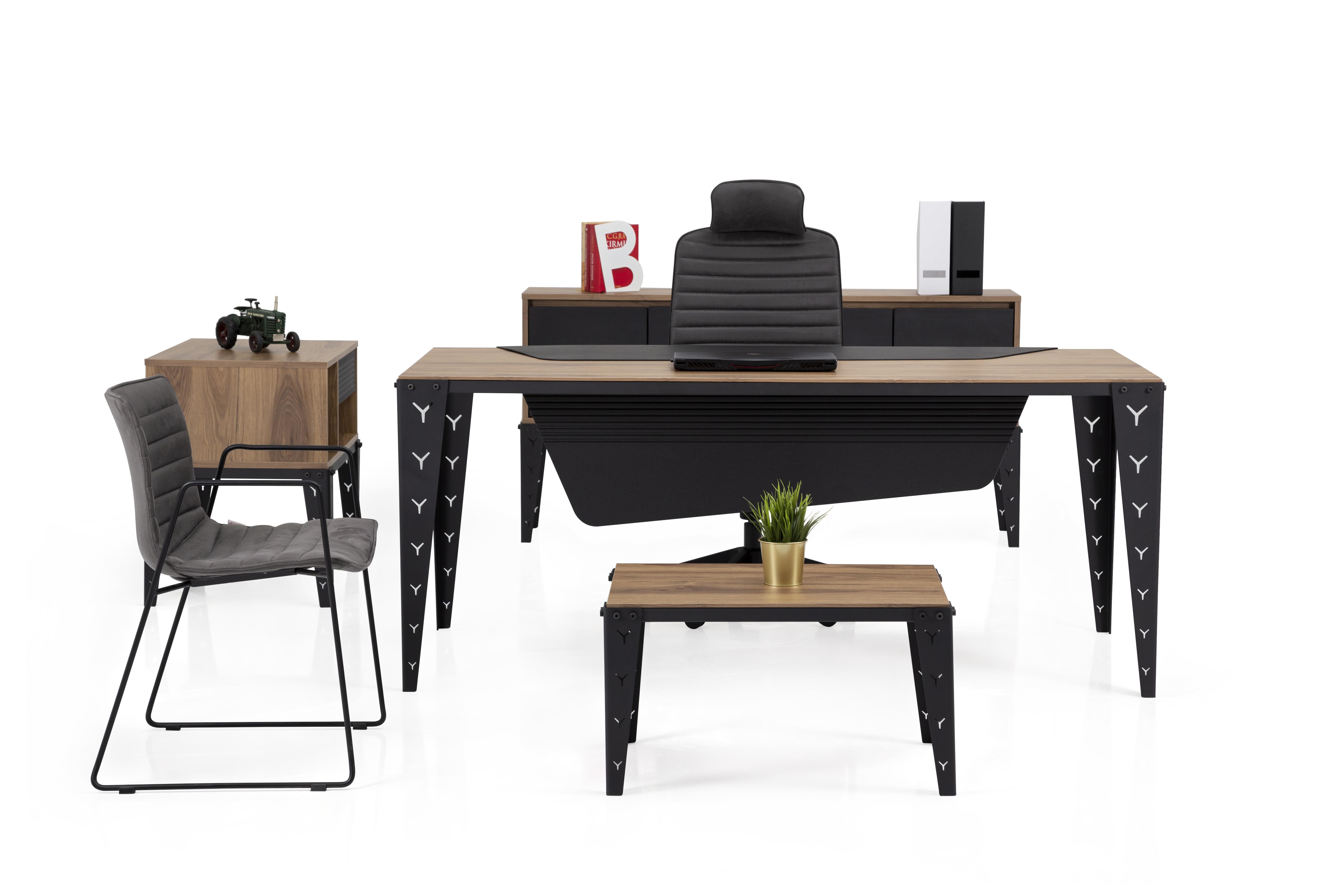 Ovali Büromöbel komplett 4-teilig Mustang 200x90 cm