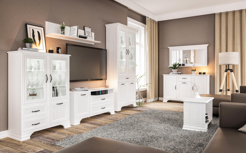 Neman Wohnzimmer Kombi 3-teilig Juna Landhausstil Weiß
