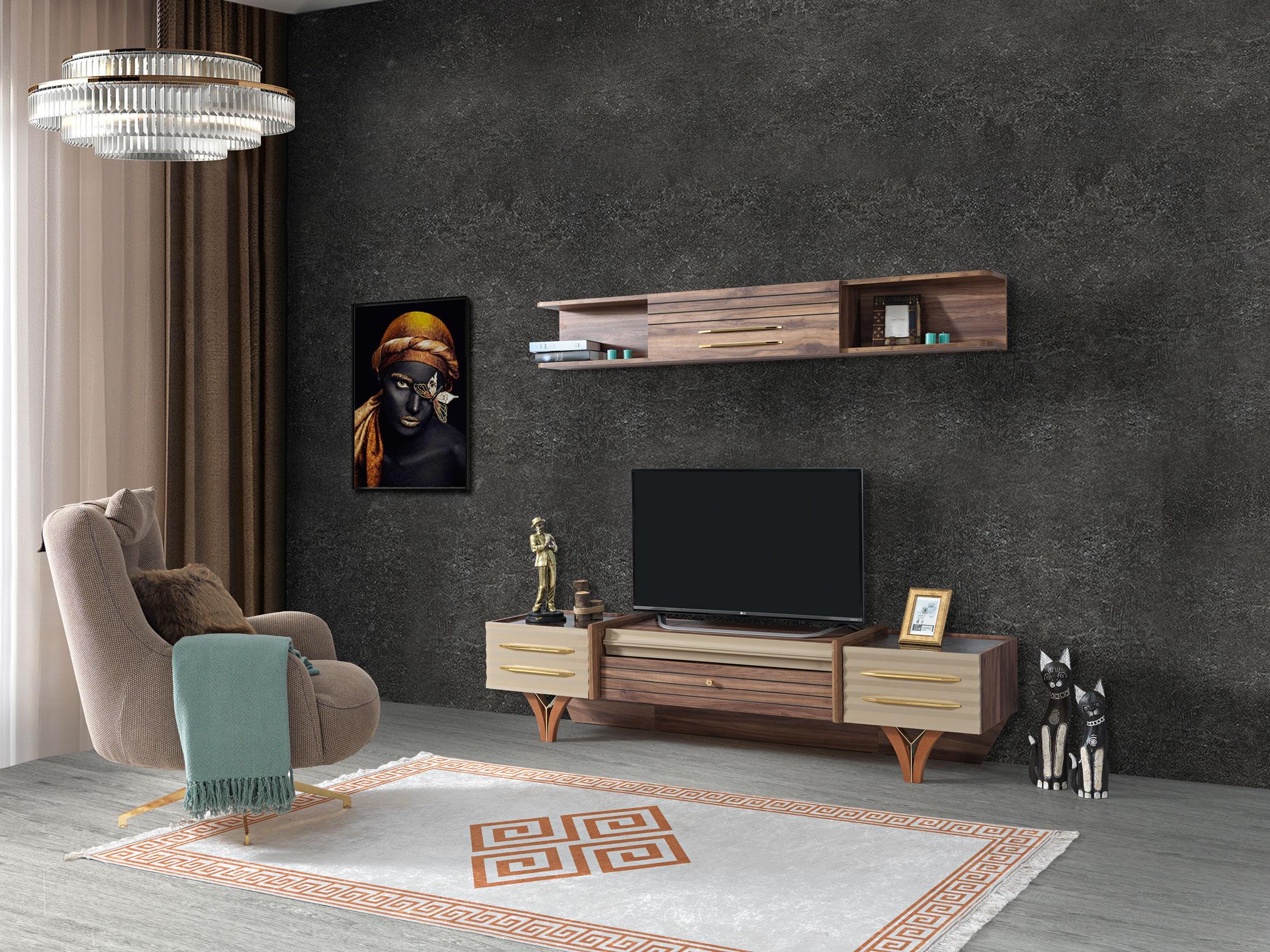 Lidya TV Lowboard Tower mit Wandregal mit Massivholz
