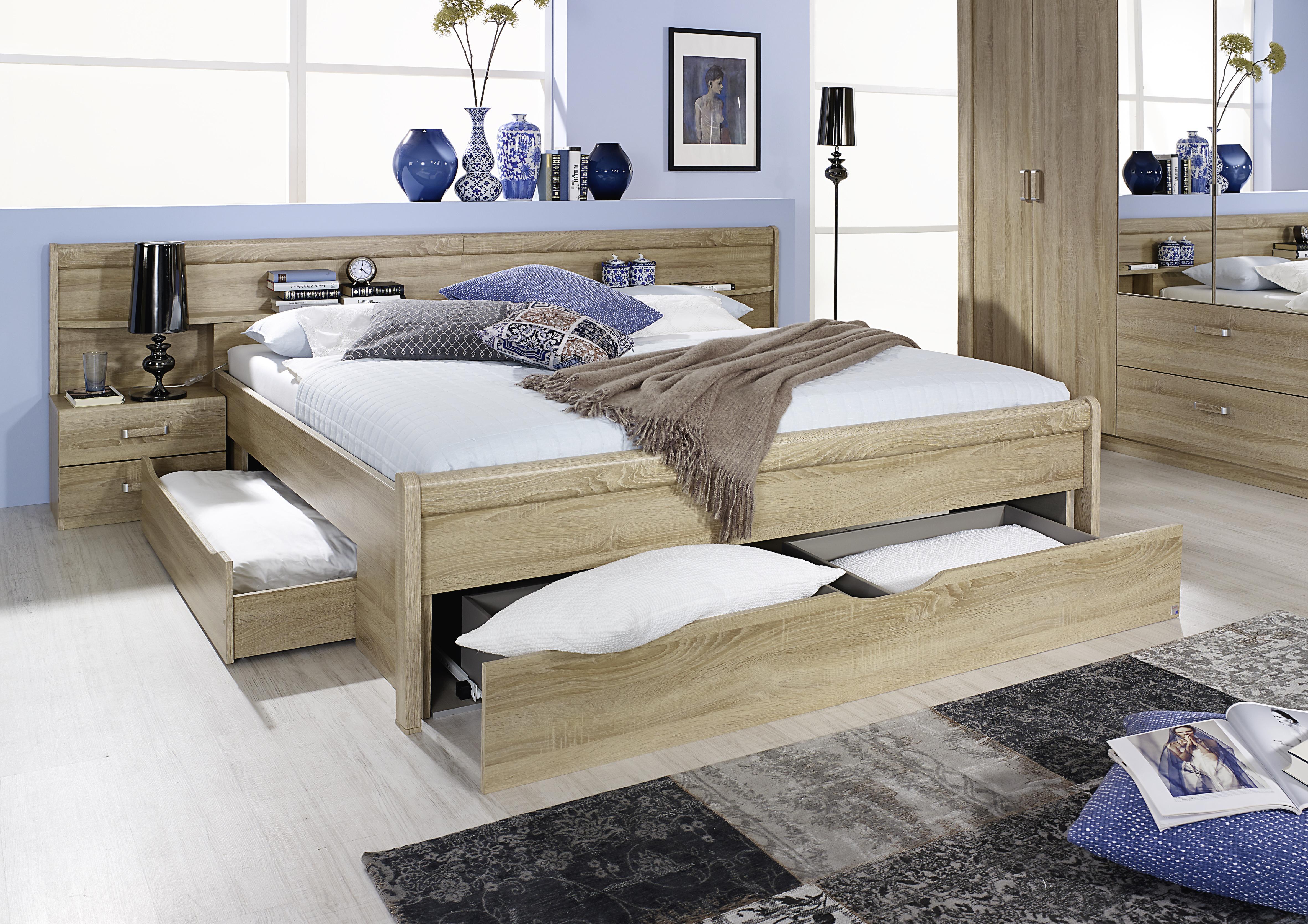 Bett Sonoma Eiche Chamo mit drei Bettschubkästen