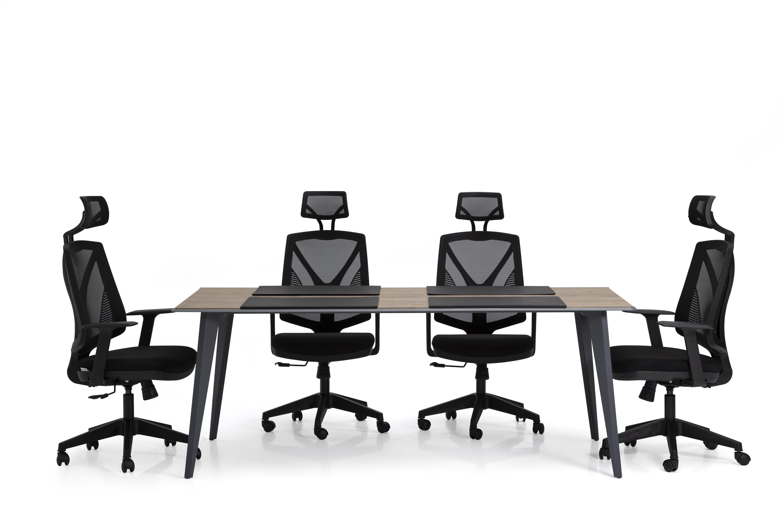 Ovali Meetingtisch Eco Anthrazit Holzoptik 250x100 cm