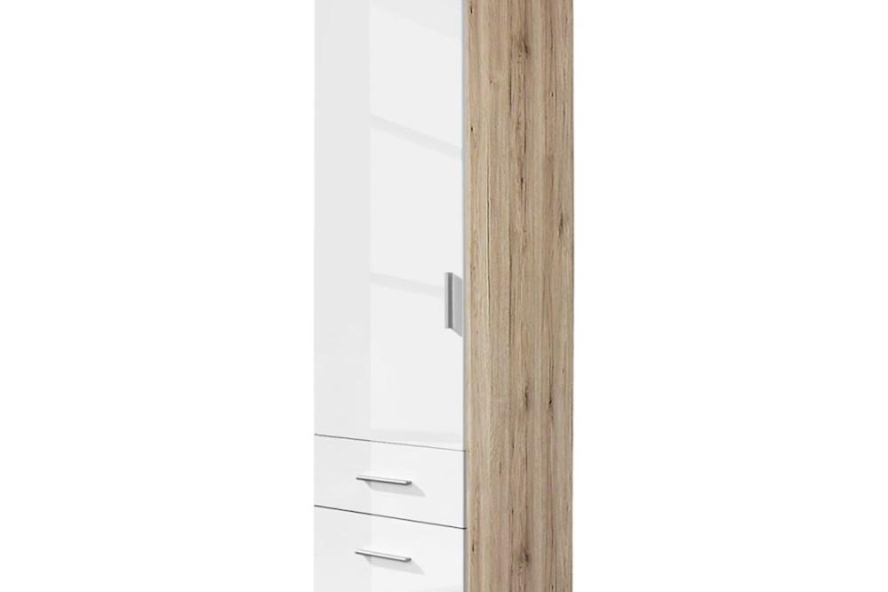 Drehtür-Kombischrank CELLE weiß / Eiche Sonoma 47 x 210 x 54 cm links