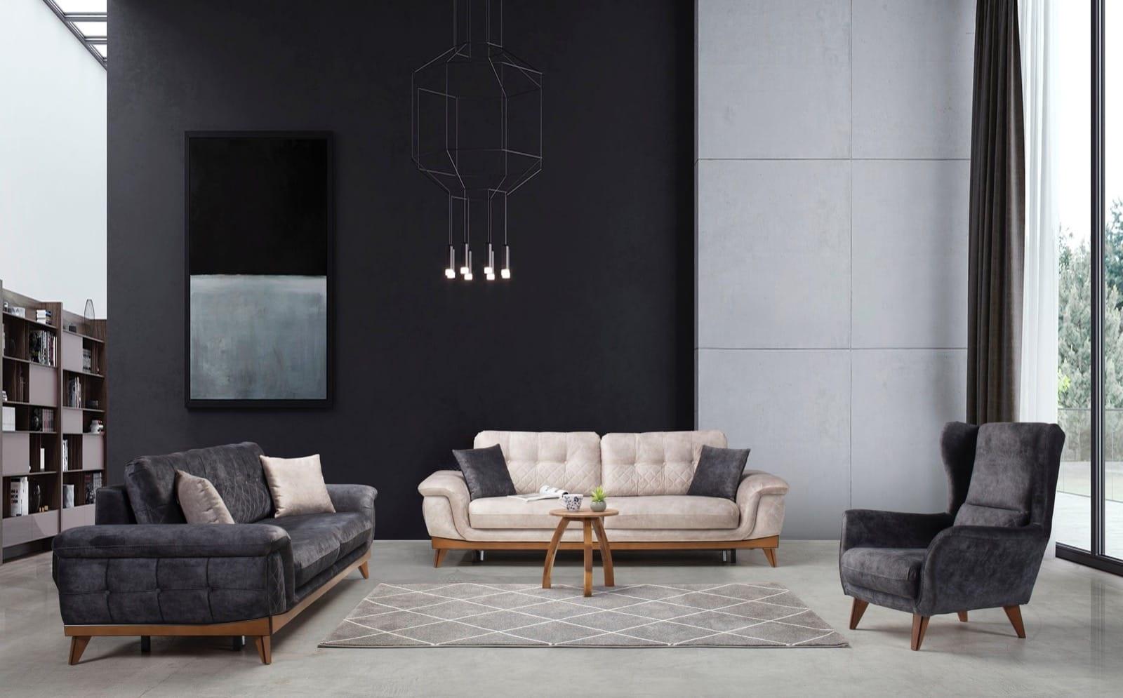 Sofa Set mit Stauraum Grau Beige Sedek 3-teilig