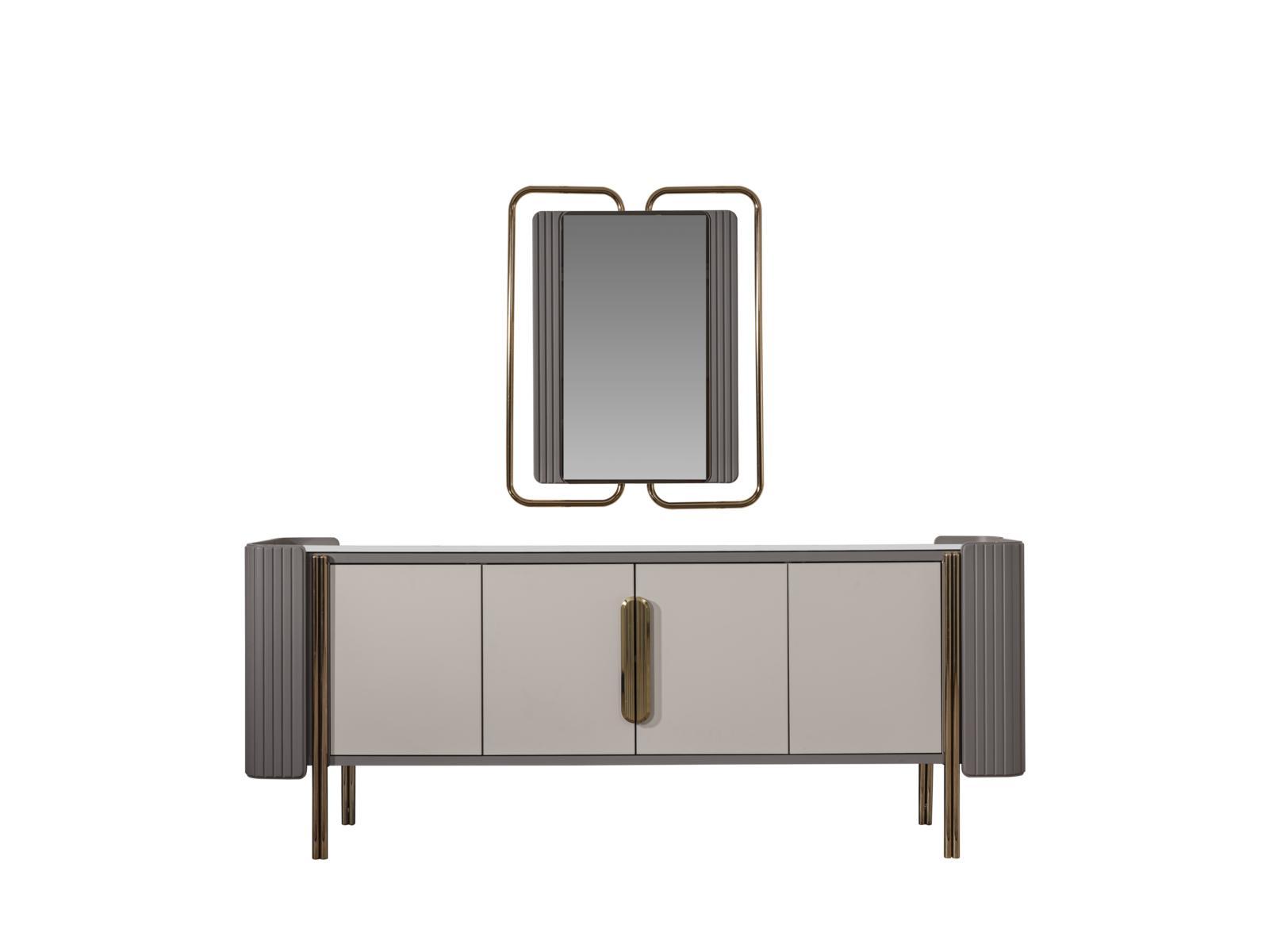 Weltew Esszimmer Sideboard Florya 6-türig Grau