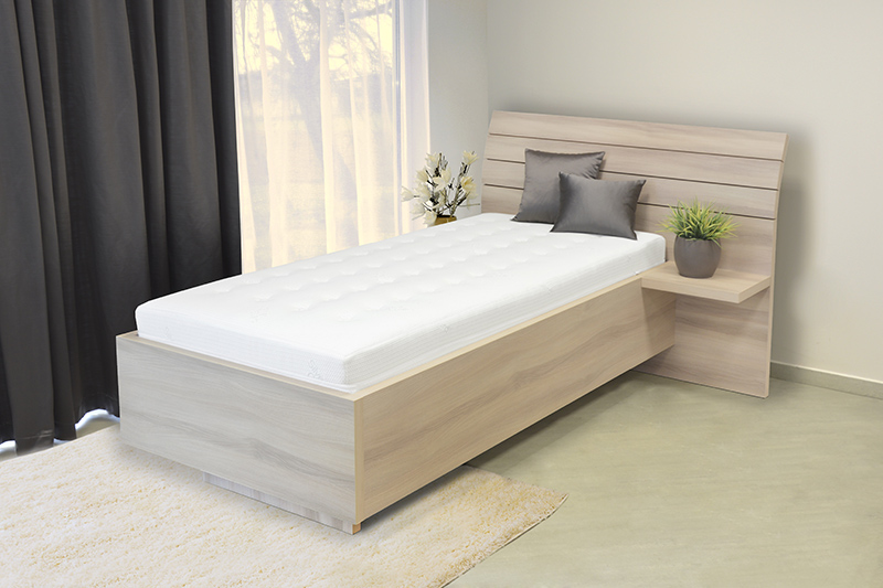 Schwebendes Bett Rielle 100x190 Eiche Weiß Rechts