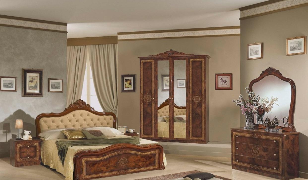 Schlafzimmer Set Christina Walnuss 4-türiger Schrank