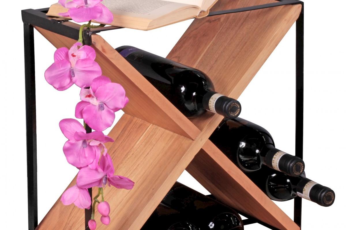 WOHNLING Weinregal Massiv-Holz Akazie Flaschenregal Standregal für ca. 16 Flaschen mit Metallrahmen Holzregal X-Form