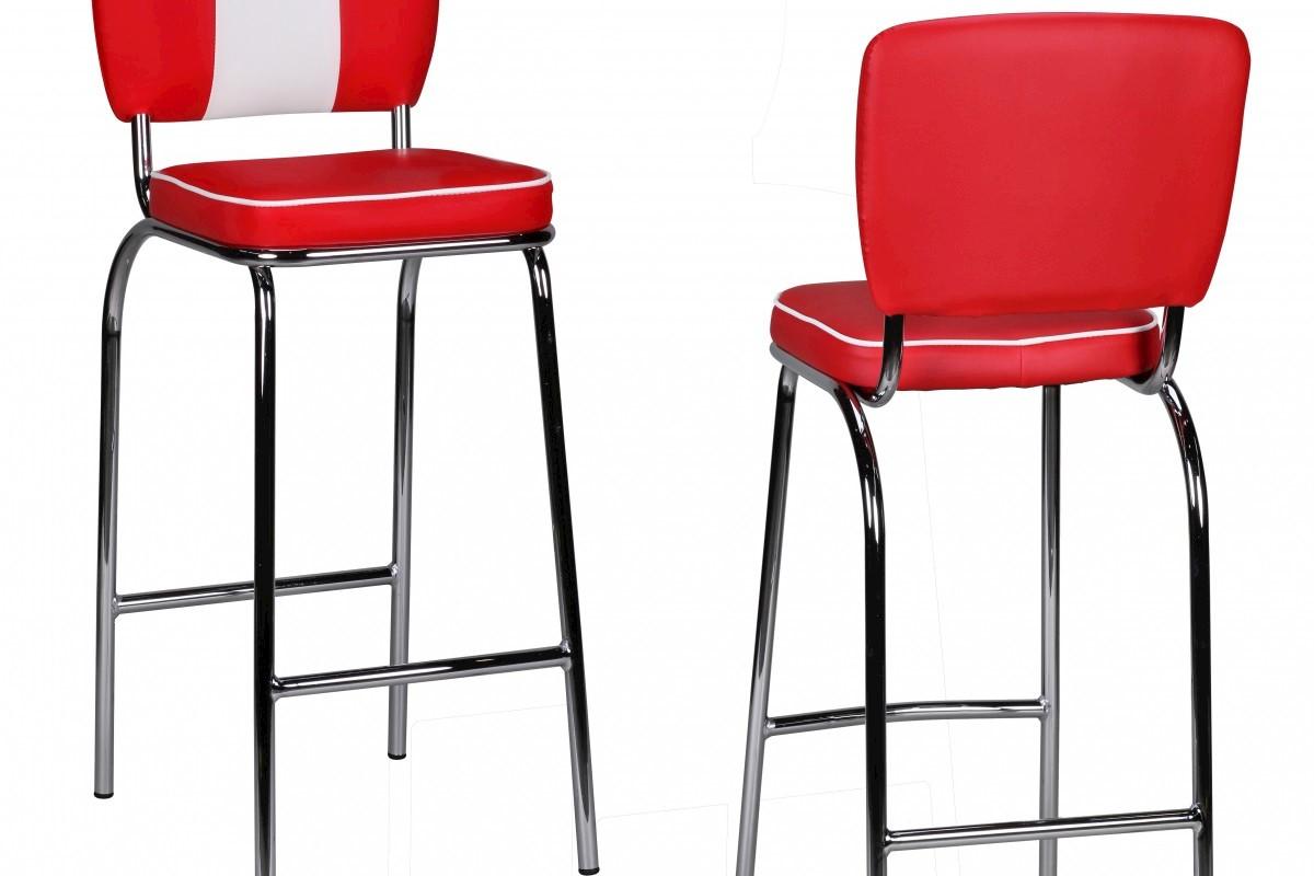 Barstuhl American Diner 50er Jahre Retro Rot Weiß