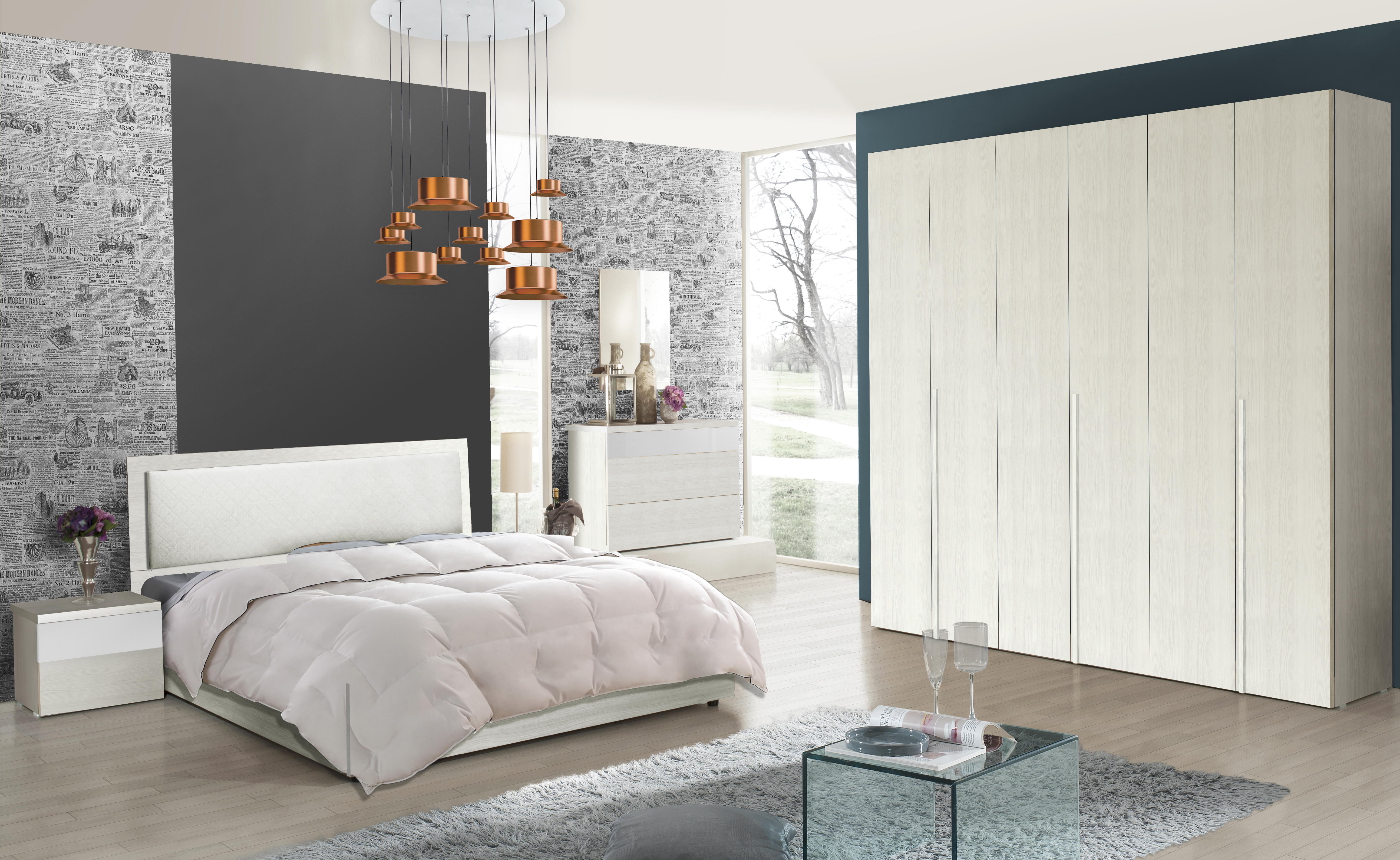 Schlafzimmer Serie Soraja Creme Weiß 4-teilig 180x200 cm / creme/weiß
