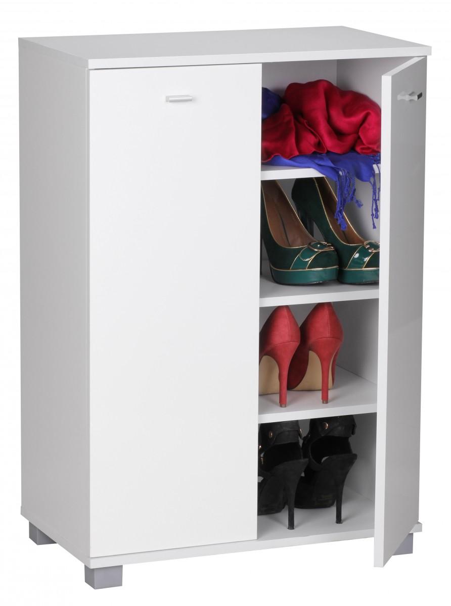 Schuhschrank 2-Türig 60 x 90 x 35 cm weiß Front 12 Paar Schuhe