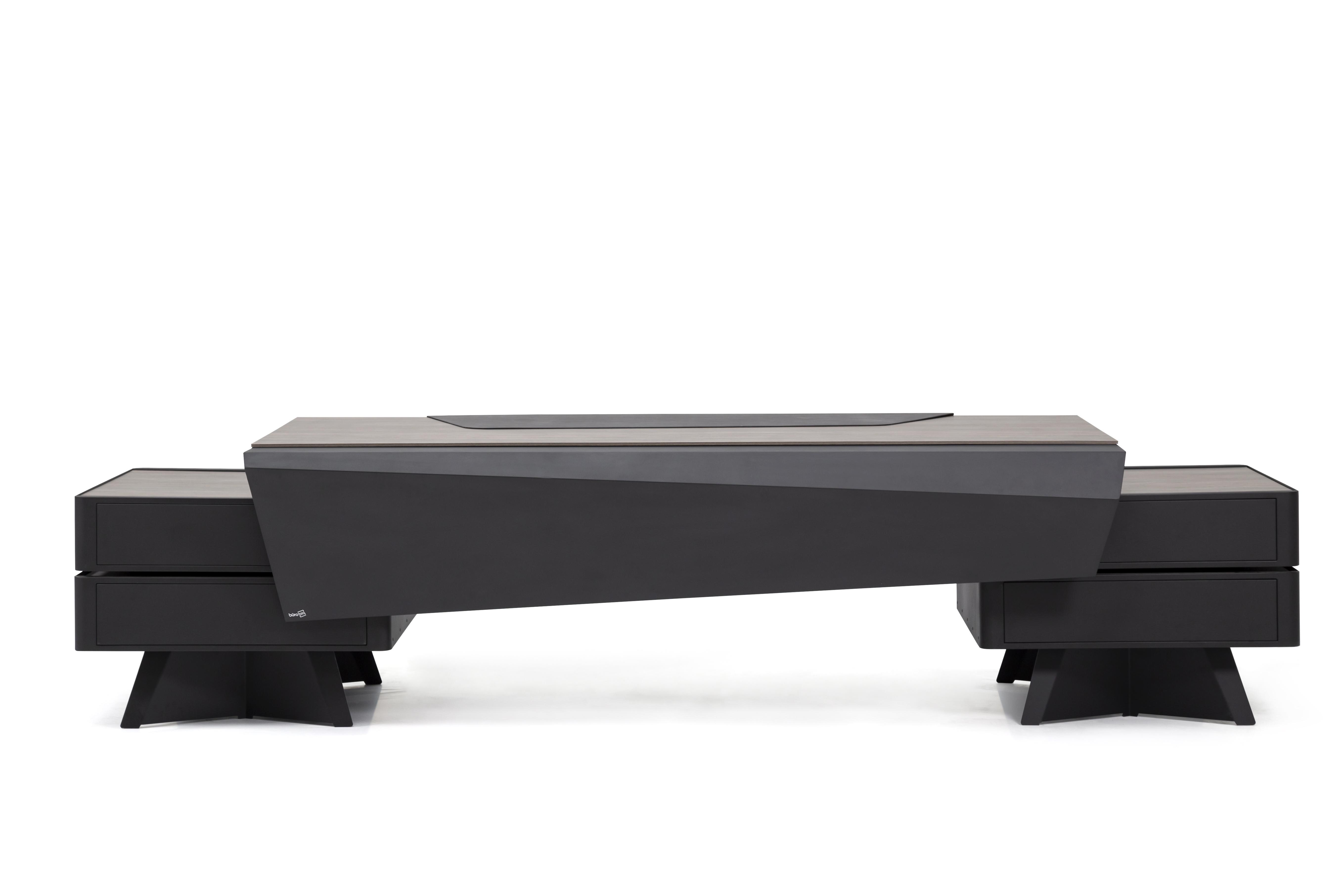 Ovali Schreibtisch 3-teilig Mercury Schwarz Holzoptik