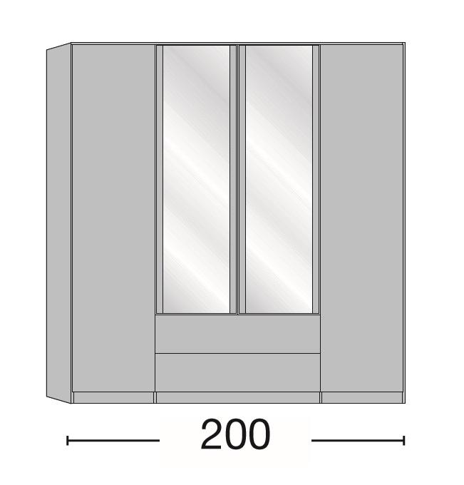 Kleiderschrank Delina in Trüffeleiche 200 cm mit Spiegeltüren