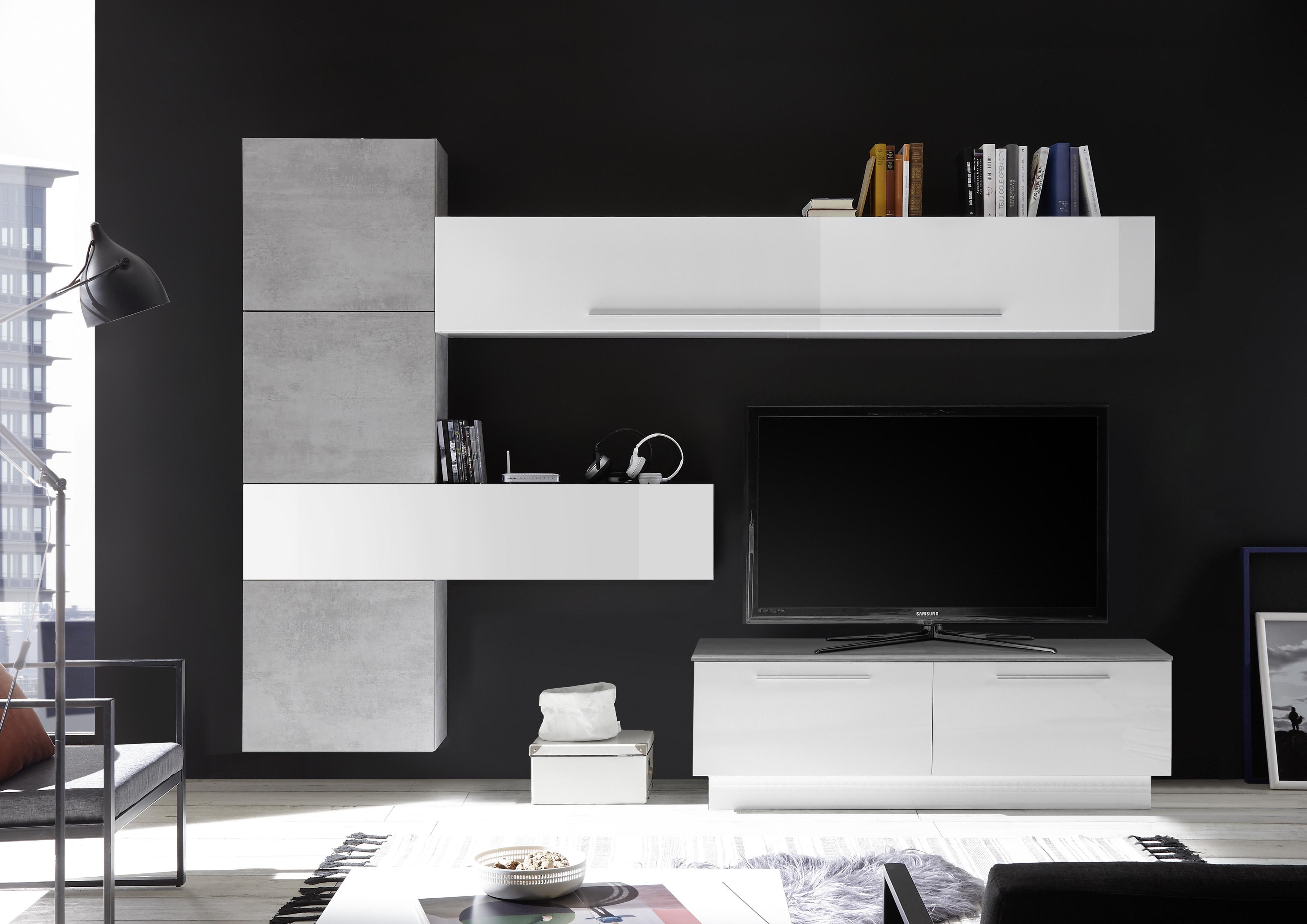 Wohnwand Kombination Veldig 7-teilig in Weiß Beton