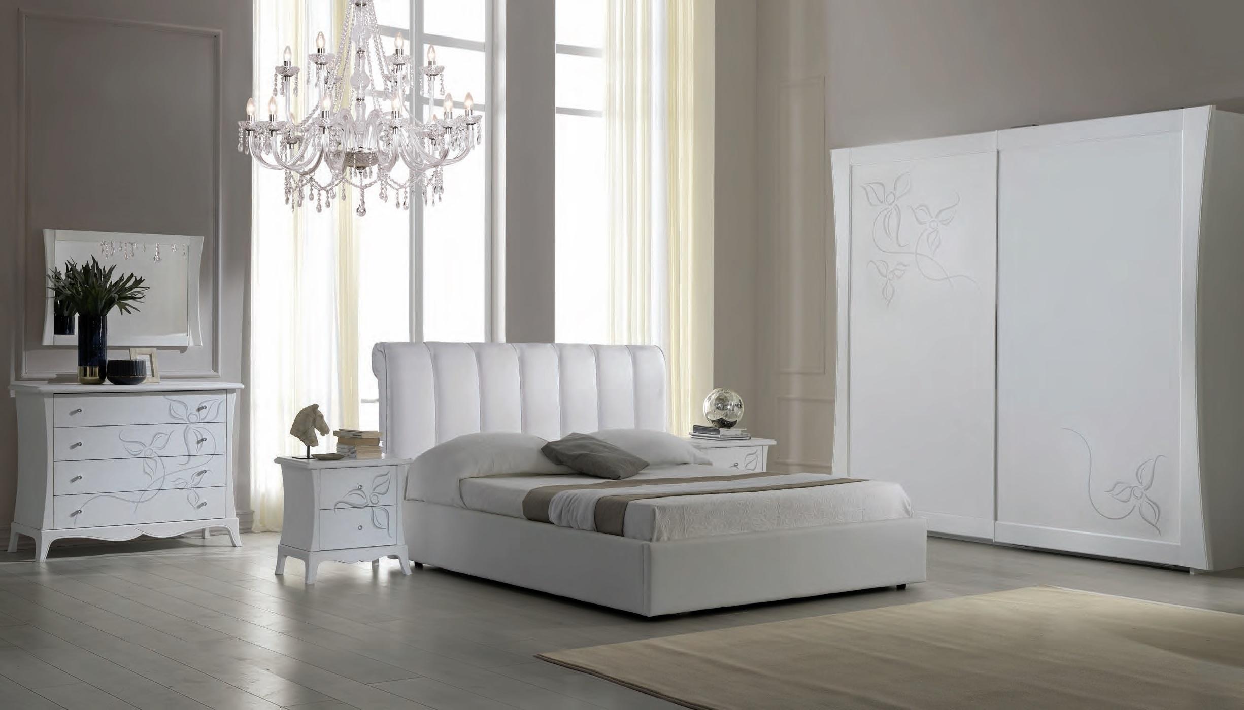 Schlafzimmer Set Jolie in Weiß/Silber 160x200 komplett