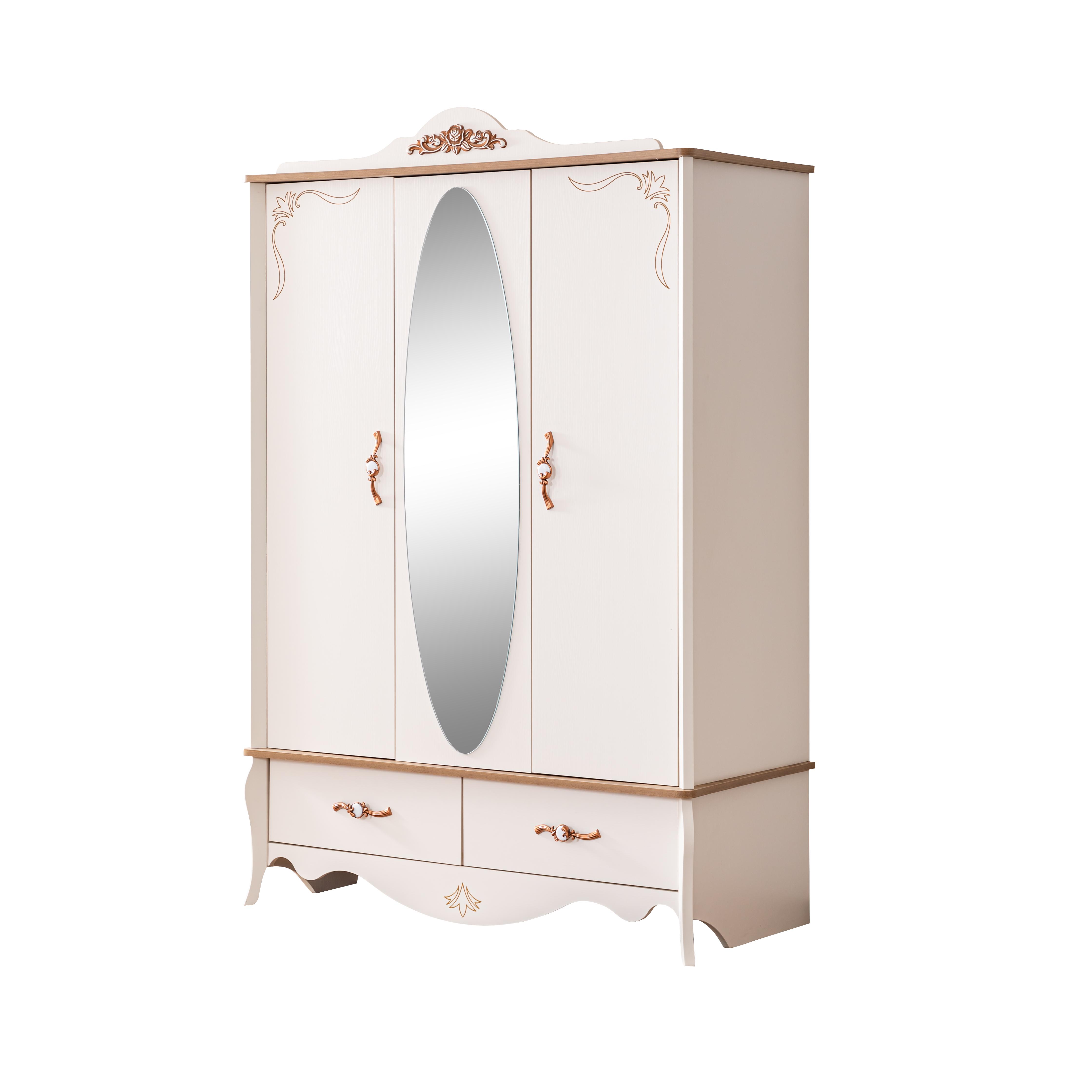 Odacix Kleiderschrank Inci mit Spiegeltüre in Creme
