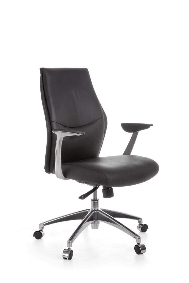 Bürostuhl OXFORD 2 Echtleder Schwarz 5-Punkt Synchronmechanik Drehstuhl 120kg